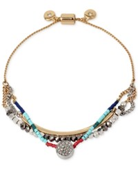 Kenneth Cole New York Two Tone Crystal And Bead Layer Slider Bracelet Multi