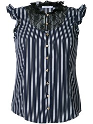 Guild Prime Striped Lace Bib Sleeveless Shirt Women Polyester 34 Blue
