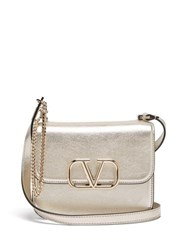 Valentino V Sling Small Metallic Leather Shoulder Bag Gold