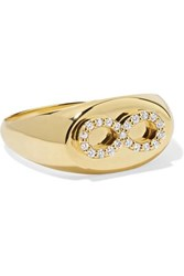 Foundrae Baby Infinity 18 Karat Gold Diamond Signet Ring