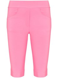 Michael Lo Sordo High Waisted Pocketed Knee Length Shorts Pink