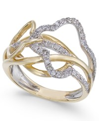 Macy's Diamond Abstract Statement Ring 3 8 Ct. T.W. In 14K Gold And White Gold Two Tone
