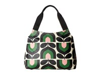 Orla Kiely Matt Laminated Stripe Tulip Print Classic Zip Shoulder Bag Spring Shoulder Handbags Green