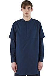 Oamc Perforated Sleeve Over Shirt Navy