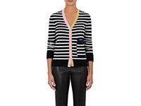 Lisa Perry Men's Striped Cashmere Cardigan Black White No Color