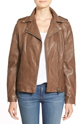 Lamarque La Marque 'Perfecto' Lambskin Leather Moto Jacket Brown