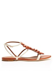 Malone Souliers Audrey Pleated Front Leather Sandals Tan White