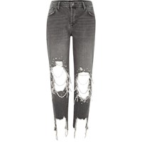 River Island Black Washed Pearl Ripped Boyfriend Jeans
