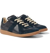 Maison Martin Margiela Replica Suede And Leather Sneakers Navy
