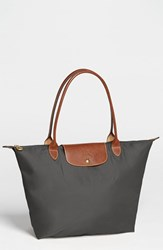 Longchamp 'Large Le Pliage' Tote Grey Gunmetal