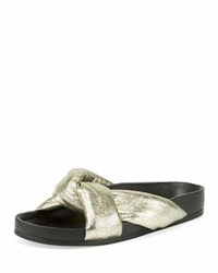 Chloe Leather Crisscross Slide Sandal Gray Glitter Gray Metallic