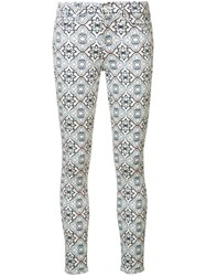 7 For All Mankind Printed Crop Skinny Jeans Women Cotton Spandex Elastane 30 White