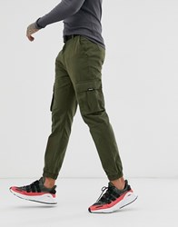 Bershka Cargo Joggers With Belt In Khaki Green