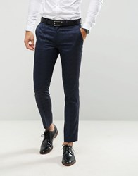 Farah Skinny Tuxedo Suit Trousers In Jacquard Navy