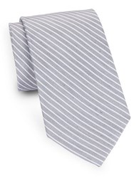 August Silk Striped And Linen Tie Blue