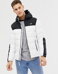 Hollister Hooded Puffer Jacket Icon Logo In White