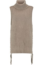 Autumn Cashmere Lace Up Knitted Turtleneck Top Mushroom