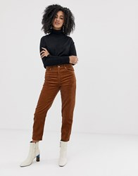 Selected Femme Organic Cotton Cord Mom Trouser Tan