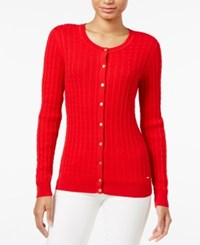 Tommy Hilfiger Frida Cable Knit Cardigan Racing Red