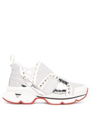 Christian Louboutin 123 Run Studded Leather Trimmed Trainers White Silver