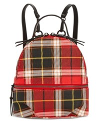 Steve Madden Val Plaid Backpack Red Silver
