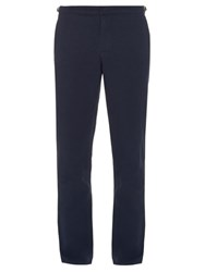 Orlebar Brown Slim Straight Leg Cotton And Linen Blend Trousers Navy