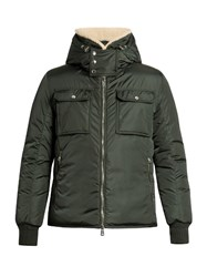 Moncler Darwin Shearling Collar Down Coat Green