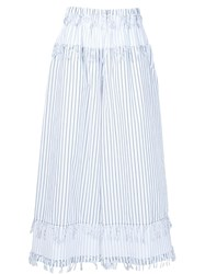 Cedric Charlier Striped Wide Leg Trousers White