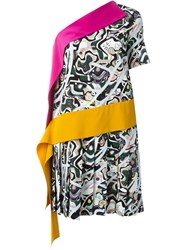 Msgm Abstract Print Asymmetric Dress Multicolour