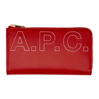 A.P.C. Red Embroidered Logo Lise Continental Wallet