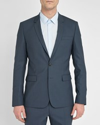 Sandro Grey Blue Notch Sky Suit Jacket In Wool