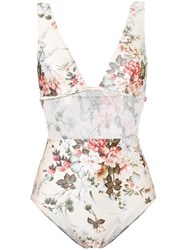 Zimmermann Floral One Piece Swimsuit Women Polyamide Spandex Elastane 2 Nude Neutrals