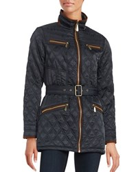 Vince Camuto Faux Suede Trimmed Quilted Jacket Navy Blue