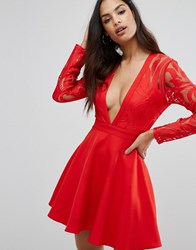 Missguided Plunge Lace Sleeve Skater Dress Red