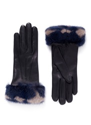 Alexander Mcqueen Mink Fur Trim Leather Gloves Black