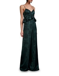 Cynthia Rowley Floral Motif Wide Leg Jumpsuit Forest Green
