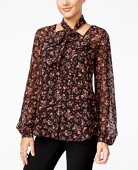 Jessica Simpson Cerena Printed Peasant Blouse With Scarf Red