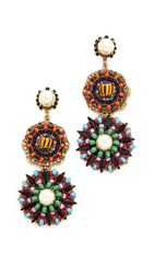 Erickson Beamon Imitation Pearl Safari Disc Earrings Multi