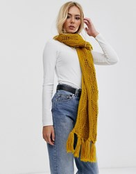 Pieces Chunky Cable Knitted Scarf In Mustard Yellow
