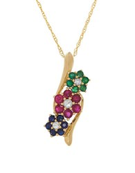 Lord And Taylor Ruby Emerald Sapphire White Sapphire 14K Yellow Gold Pendant Necklace Multi