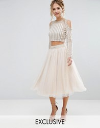 Lace And Beads Tulle Skirt With Allover Beading Embellished Waist Co Ord Cream