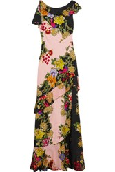 Etro Ruffled Floral Print Crepe And Silk Chiffon Maxi Dress Pink