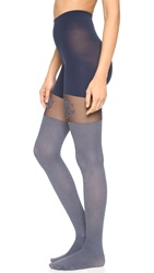 Spanx Flora Lace Over The Knee Tights Grey Rib