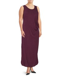 Lord And Taylor Plus Solid Dolphin Hem Tank Dress Mulberry