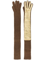 Rochas Long Ribbed Gloves Brown