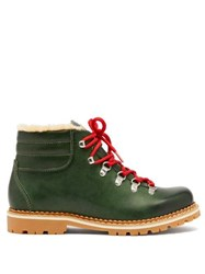 Montelliana Marlena Leather And Shearling Hiking Boots Dark Green