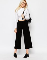Monki Wide Leg Tailored Trouser Black