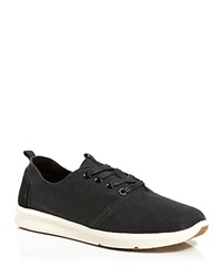 Toms Viaje Woven Burlap Lace Up Sneakers Black