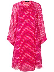 Steffen Schraut Dotted And Pleated Dress Polyester Viscose Pink Purple