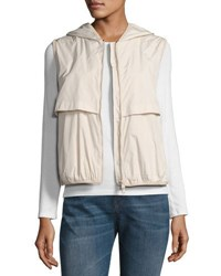 Brunello Cucinelli Silk Blend Zip Front Hooded Vest Cream